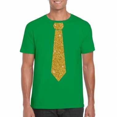 Stropdas t shirt groen gouden glitter das heren