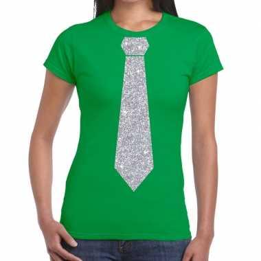 Stropdas t shirt groen zilveren glitter das dames