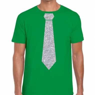 Stropdas t shirt groen zilveren glitter das heren