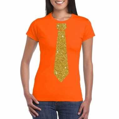 Stropdas t shirt oranje glitter das dames