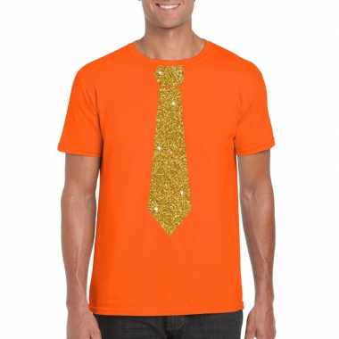 Stropdas t shirt oranje glitter das heren