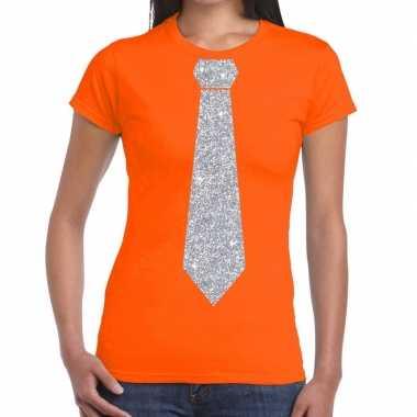 Stropdas t shirt oranje zilveren glitter das dames
