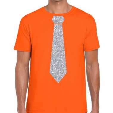 Stropdas t shirt oranje zilveren glitter das heren