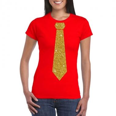 Stropdas t shirt rood glitter das dames