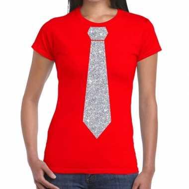 Stropdas t shirt rood zilveren glitter das dames