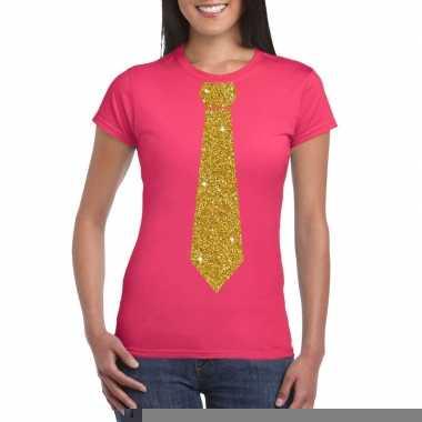 Stropdas t shirt roze glitter das dames