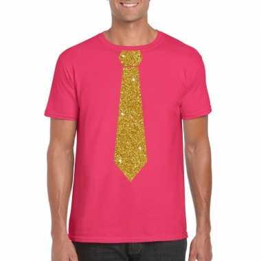 Stropdas t shirt roze glitter das heren