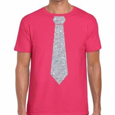 Stropdas t shirt roze zilveren glitter das heren