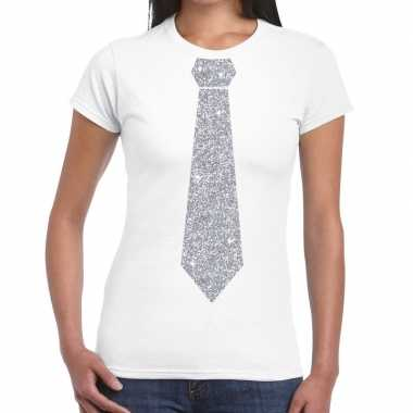 Stropdas t shirt wit zilveren glitter das dames