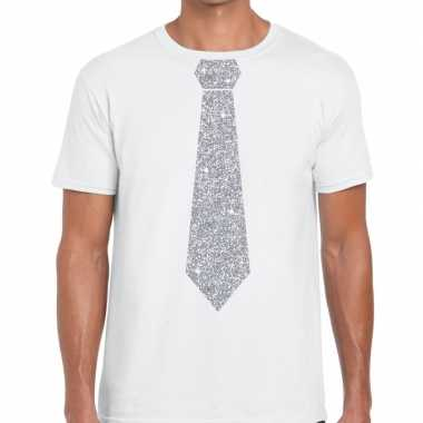 Stropdas t shirt wit zilveren glitter das heren