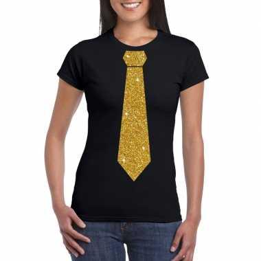 Stropdas t shirt zwart glitter das dames