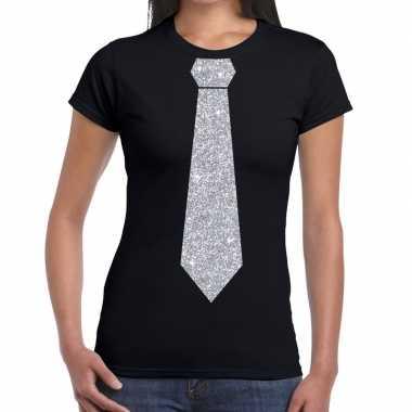 Stropdas t shirt zwart zilveren glitter das dames
