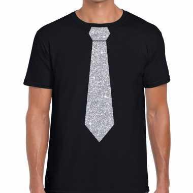 Stropdas t shirt zwart zilveren glitter das heren