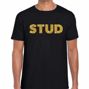 Stud gouden letters fun t shirt zwart heren