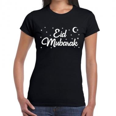 Suikerfeest-shirt eid mubarak zwart dames