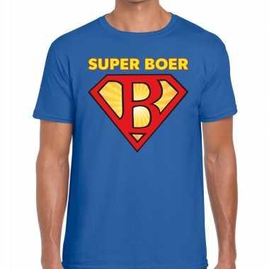 Super boer zwarte cross t shirt blauw heren