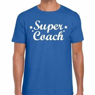Super coach fun t shirt blauw heren bedankt cadeau een coach