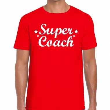 Super coach fun t shirt rood heren bedankt cadeau een coach
