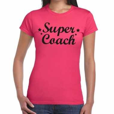 Super coach fun t shirt roze dames bedankt cadeau een coach