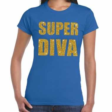 Super diva fun t shirt blauw dames