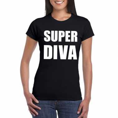 Super diva fun t shirt zwart dames