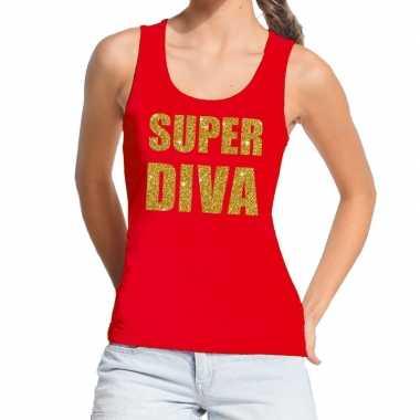 Super diva fun tanktop / mouwloos shirt rood dames