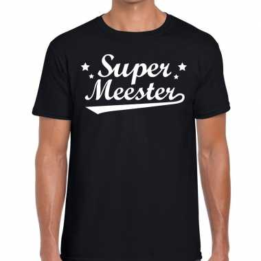 Super meester fun t shirt zwart heren