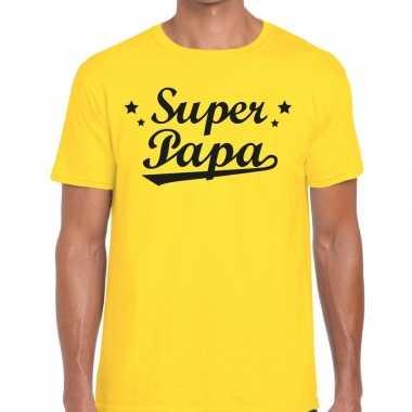 Super papa fun t shirt geel heren