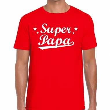 Super papa fun t shirt rood heren