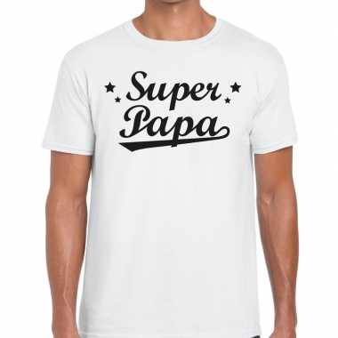 Super papa fun t shirt wit heren