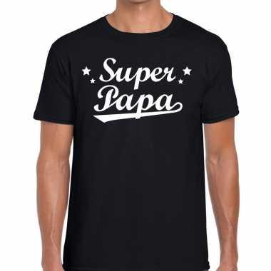 Super papa fun t shirt zwart heren