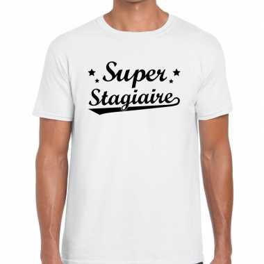 Super stagiaire fun t shirt wit heren bedankt cadeau een stagiaire