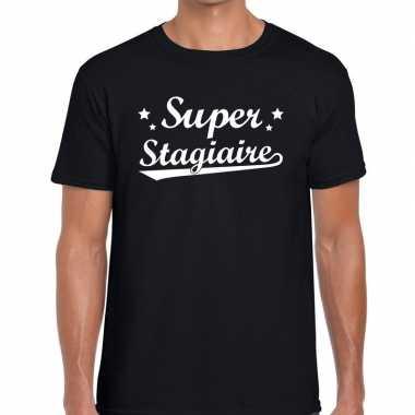 Super stagiaire fun t shirt zwart heren bedankt cadeau een stagiaire