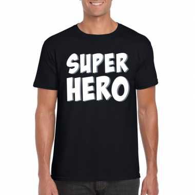 Superhero fun t shirt zwart heren