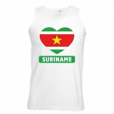 Suriname hart vlag mouwloos shirt wit heren