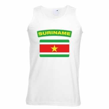 Suriname vlag mouwloos shirt wit heren