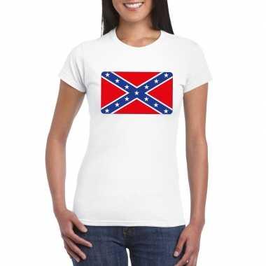 T shirt amerikaanse zuidelijke staten rebel vlag wit dames