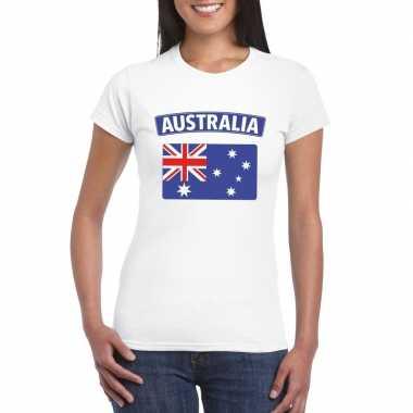 T shirt australische vlag wit dames