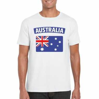T shirt australische vlag wit heren