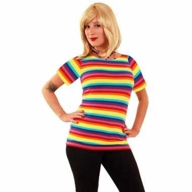 T shirt fel gekleurde strepen dames