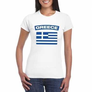 T shirt griekse vlag wit dames