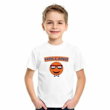 T shirt holland smiley wit kinderen