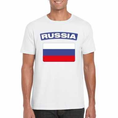 T shirt russische vlag wit heren
