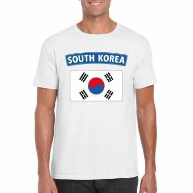 T shirt zuid koreaanse vlag wit heren