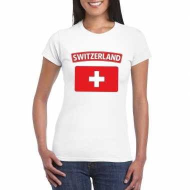 T shirt zwitserse vlag wit dames