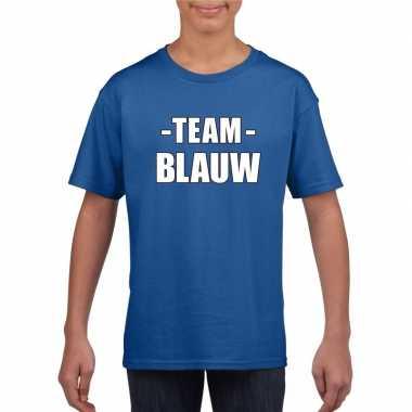 Team blauw shirt jongens meisjes evenement