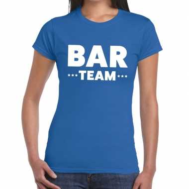 Team t shirt blauw bar team bedrukking dames