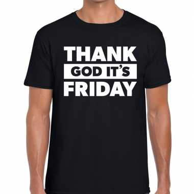 Thank god it is friday fun t shirt zwart heren
