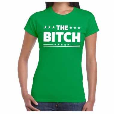 The bitch fun t shirt groen dames