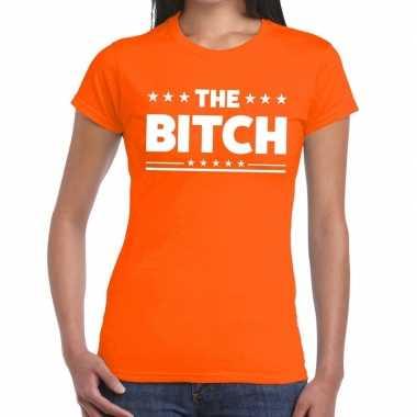 The bitch fun t shirt oranje dames